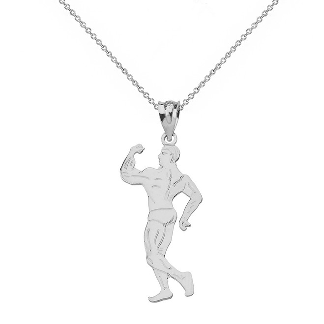 Solid White Gold Weightlifting Fitness Male Bodybuilder Pendant Necklace