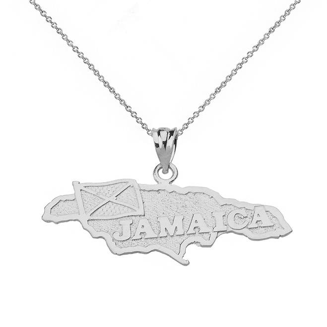 Solid White Gold Jamaica Map Pendant Necklace