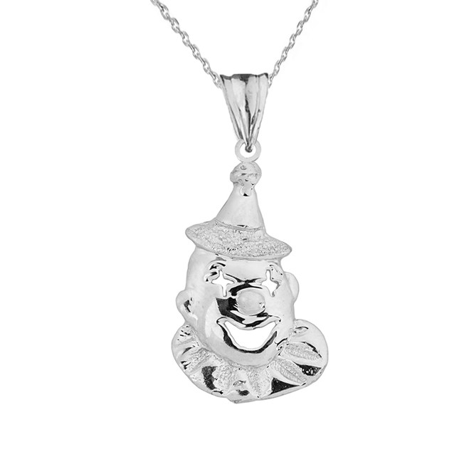 Sterling Silver Clown Pendant Necklace