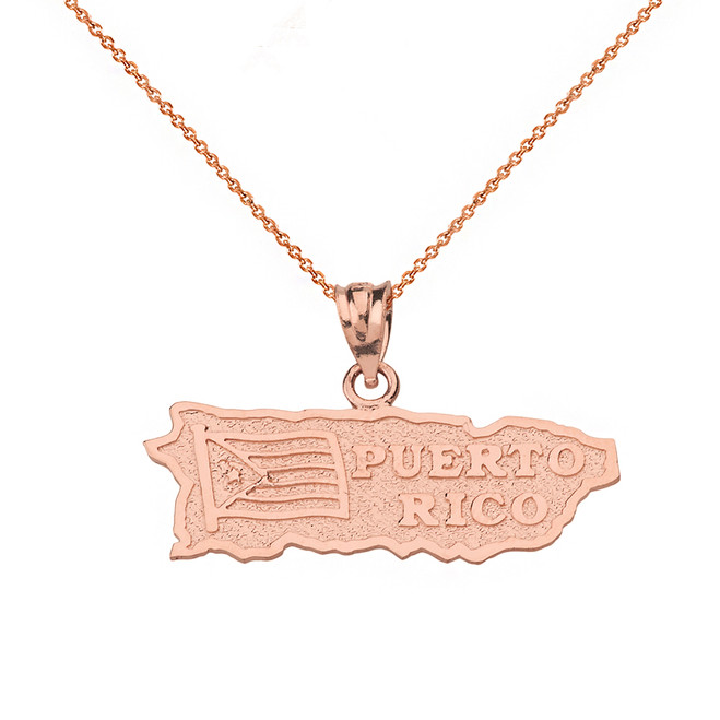 Solid Rose Gold Puerto Rico Map Pendant Necklace
