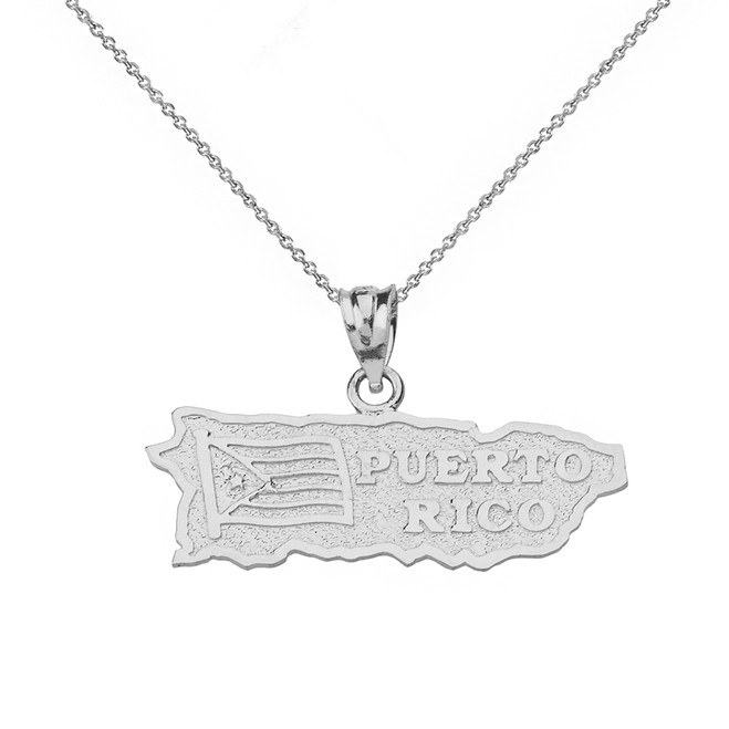 Solid White Gold Puerto Rico Map Pendant Necklace