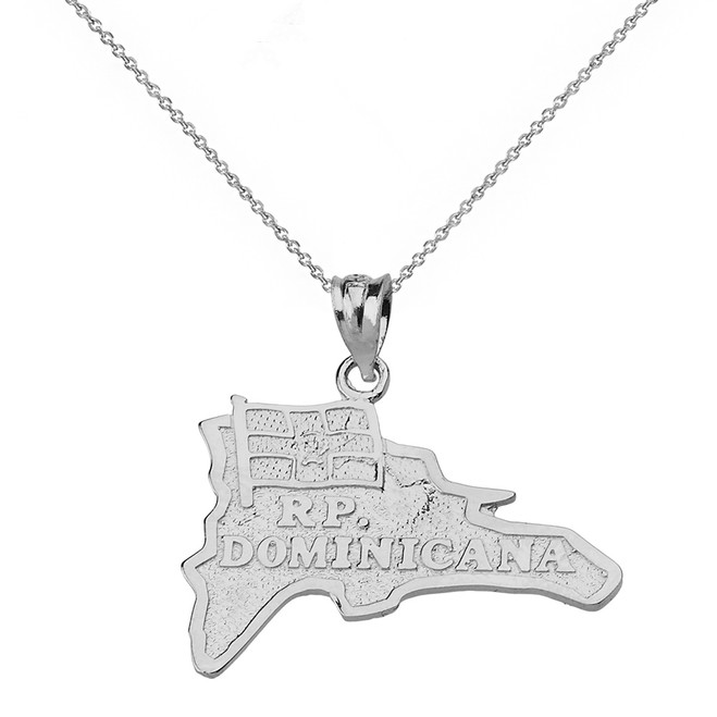 Solid White Gold R.P Dominicana  Map Pendant Necklace