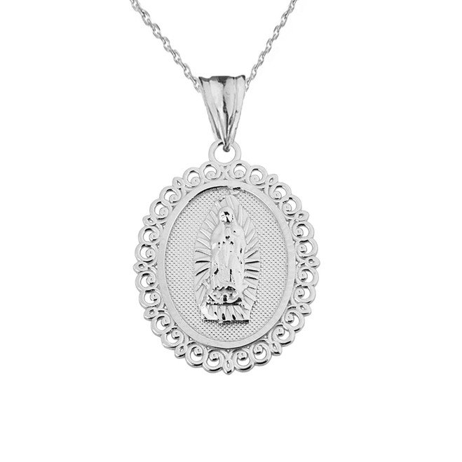 Saint Mary Pendant Necklace in White Gold