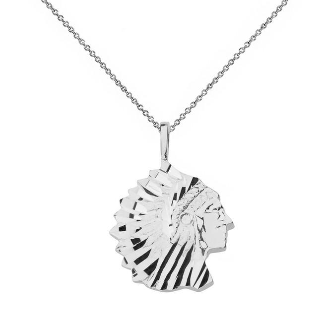 Solid White Gold Diamond Cut Native American Chief  Pendant Necklace