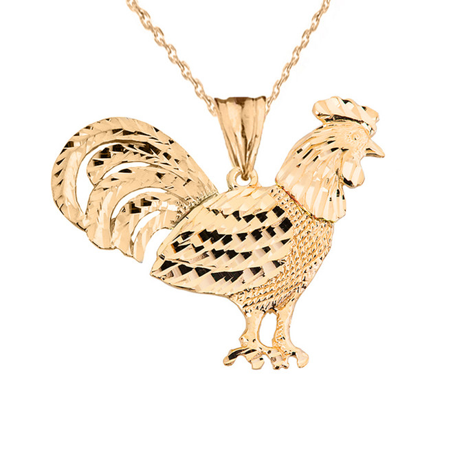 Yellow Gold Rooster Pendant Necklace