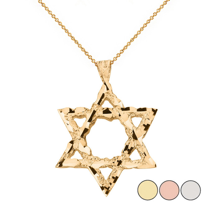 Textured Star of David Pendant Necklace in Solid Gold (Yellow/Rose/White)