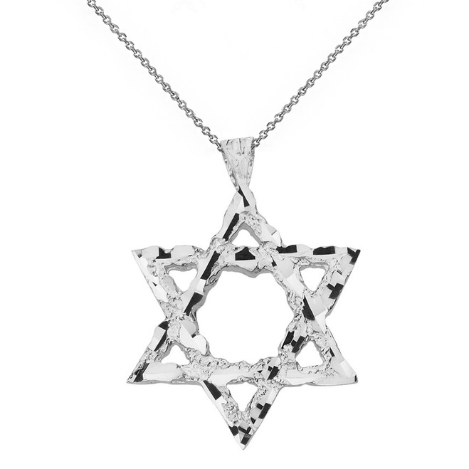 Solid White Gold Textured Star of David Pendant Necklace