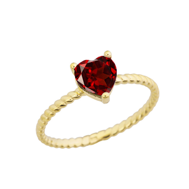Dainty Genuine Garnet Heart Rope Ring in Yellow Gold