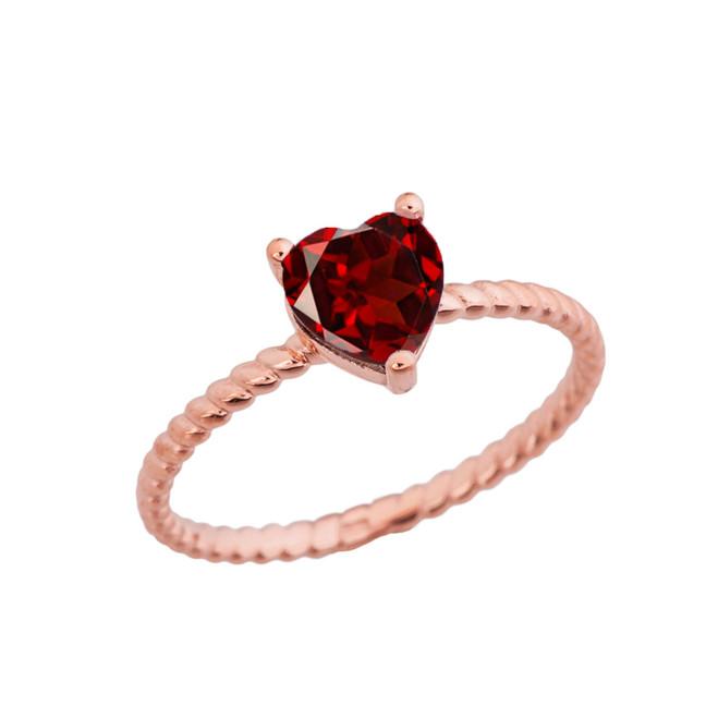 Dainty Genuine Garnet Heart Rope Ring in Rose Gold