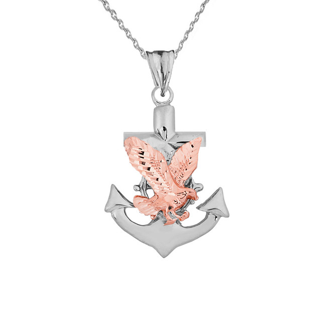 American Eagle Mariners Anchor Pendant Necklace in Two Toned White Gold