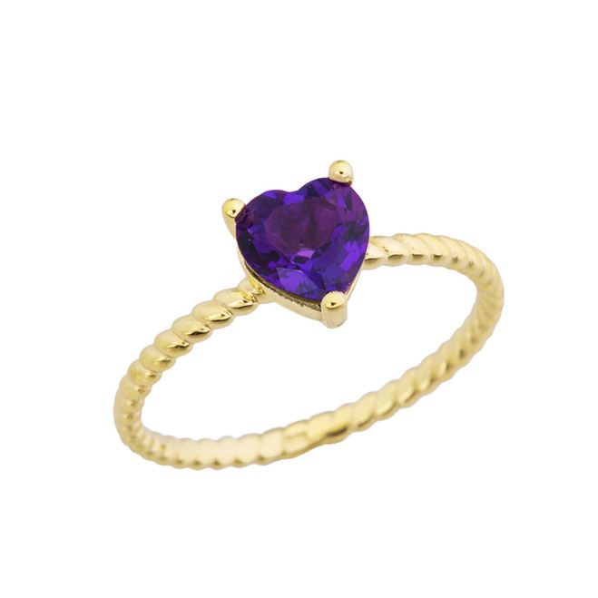 Dainty Genuine Amethyst Heart Rope Ring in Yellow Gold