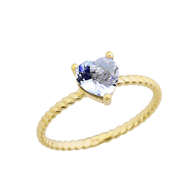 Dainty Genuine Aquamarine Heart Rope Ring in Yellow Gold