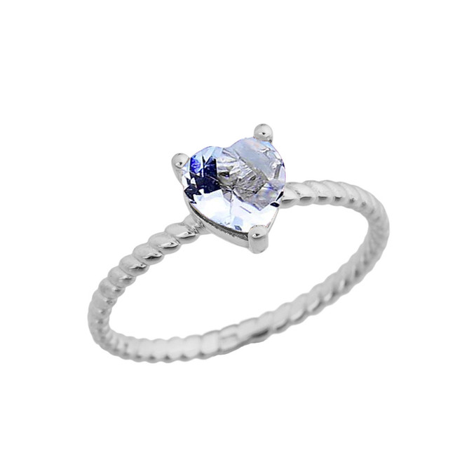 Dainty Genuine Aquamarine Heart Rope Ring in White Gold