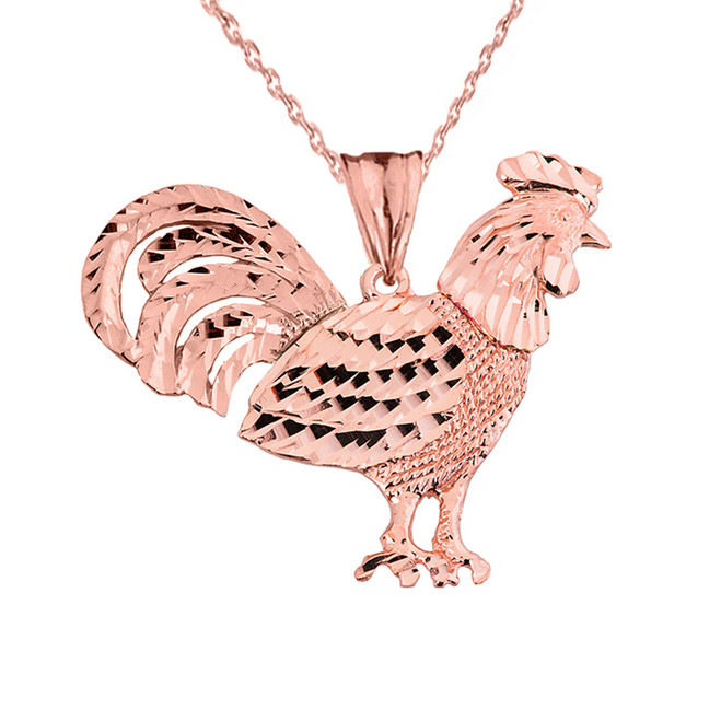 Rose  Gold Rooster Pendant Necklace