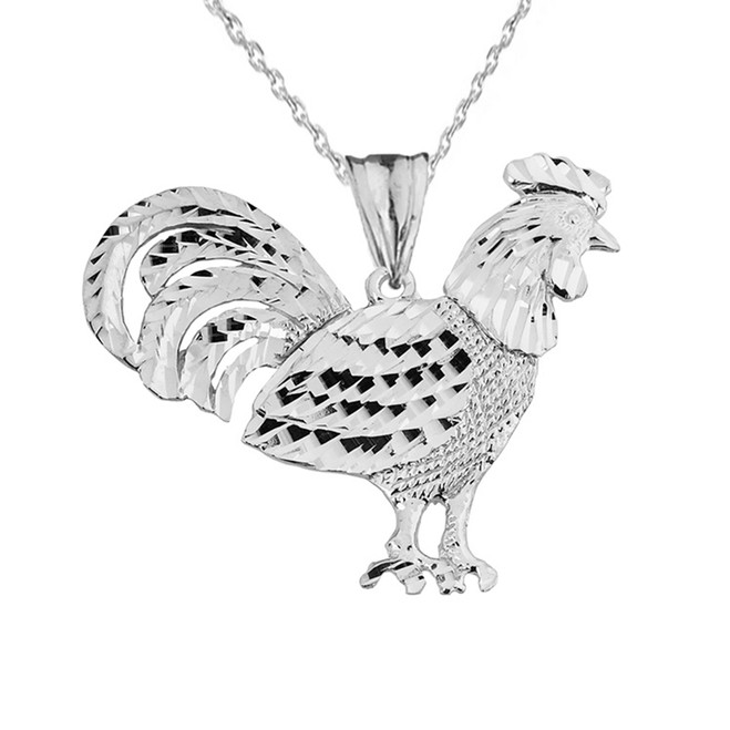 White  Gold Rooster Pendant Necklace