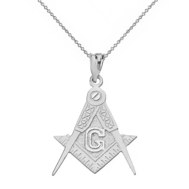 Solid White Gold Freemason Compass and Square Pendant Necklace