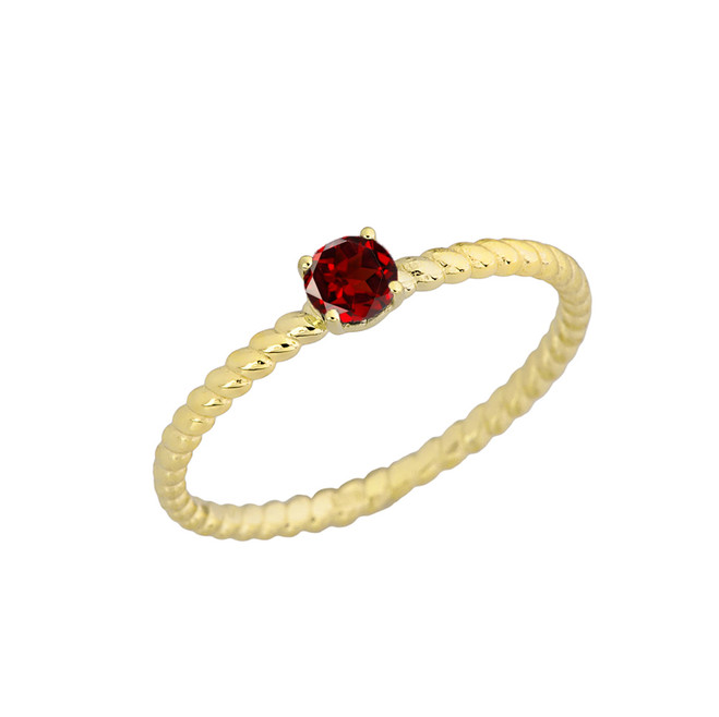 Genuine Garnet Stackable  Rope Ring in Yellow Gold