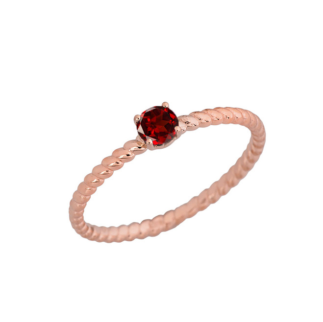Genuine Garnet Stackable  Rope Ring  In Rose gold