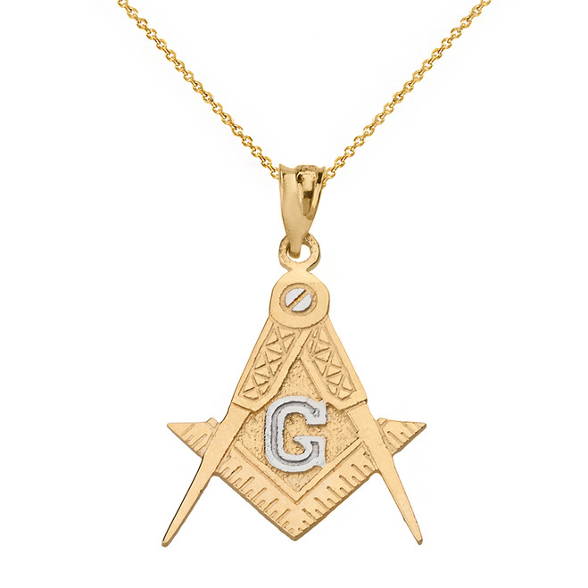 Solid Two Tone Yellow Gold Freemason Compass and Square Pendant Necklace