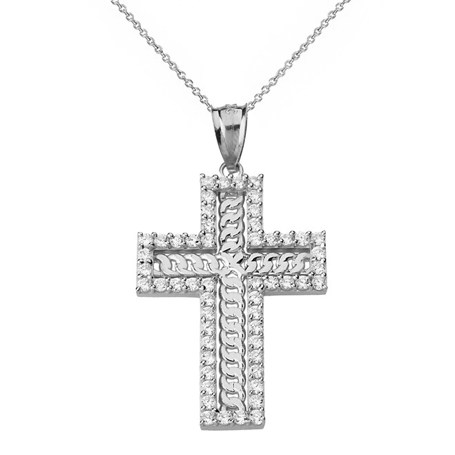 Solid White Gold  Cubic Zirconia Cubic Link Chain Cross Pendant Necklace