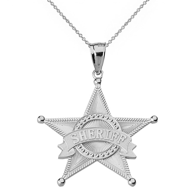 Sterling Silver Textured Sheriff Badge Star Pendant Necklace