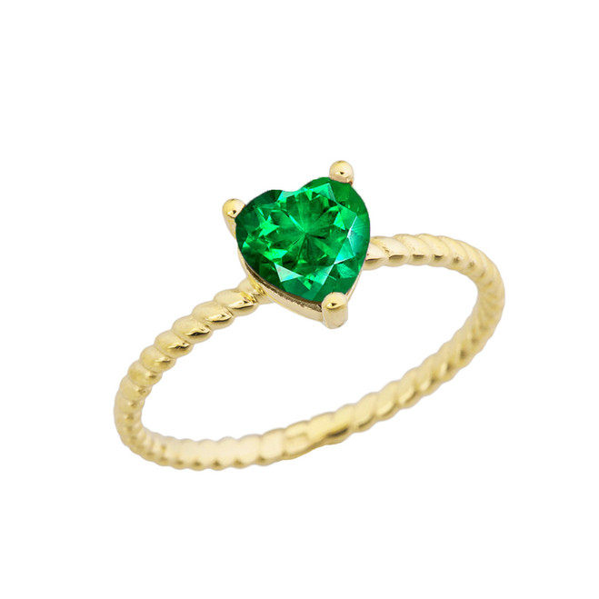 Dainty Emerald (LCE) Heart Rope Ring in Yellow Gold