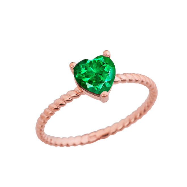 Dainty Emerald (LCE) Heart Rope Ring in Rose Gold