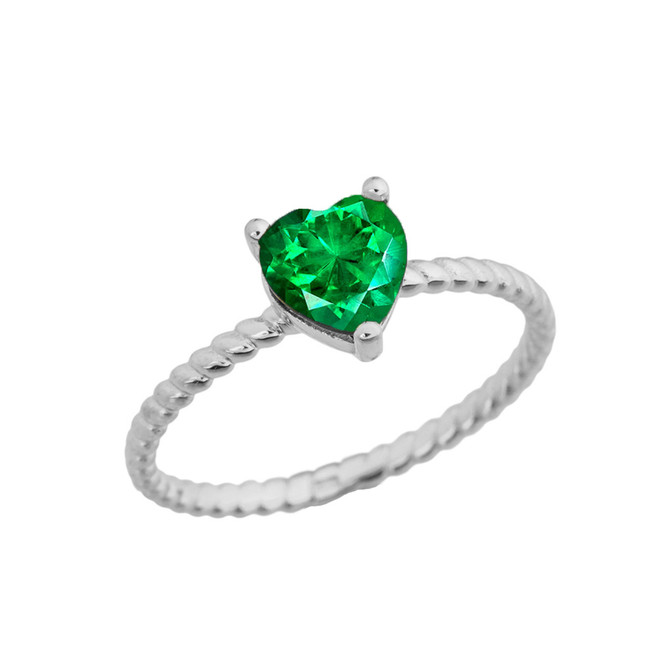 Dainty Emerald (LCE) Heart Rope Ring in White Gold