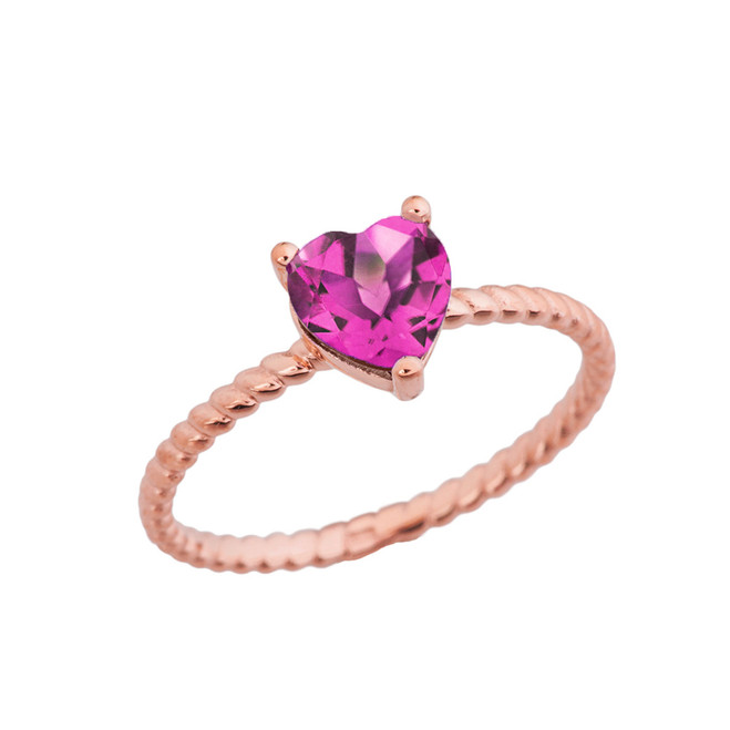 Dainty Alexandrite (LCAL) Heart Rope Ring in Rose Gold