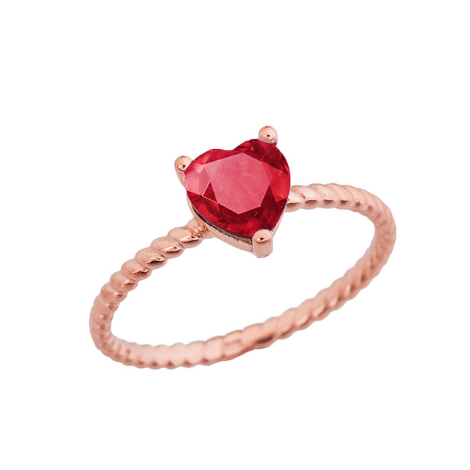 Dainty Ruby (LCR) Heart Rope Ring in Rose Gold