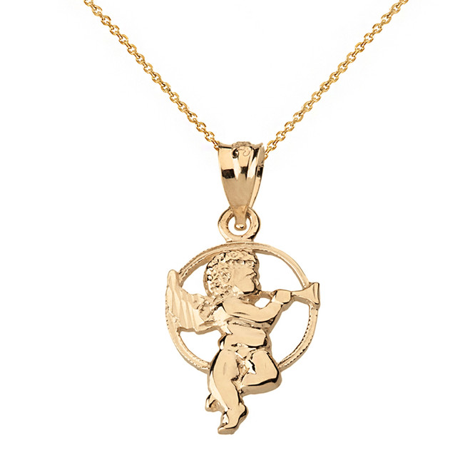 Solid Yellow Gold Diamond Cut Cherub Angel Circle Pendant Necklace