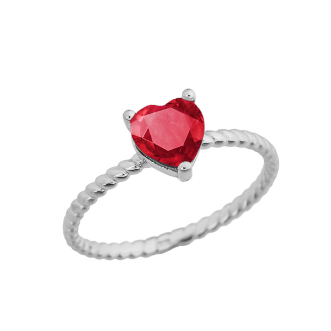 Dainty Ruby (LCR) Heart Rope Ring in White Gold