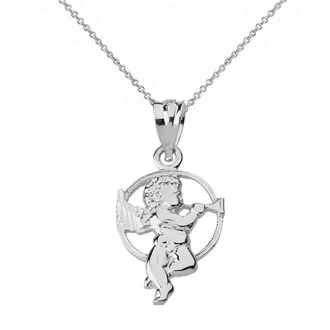 Solid White Gold Diamond Cut Cherub Angel Circle Pendant Necklace