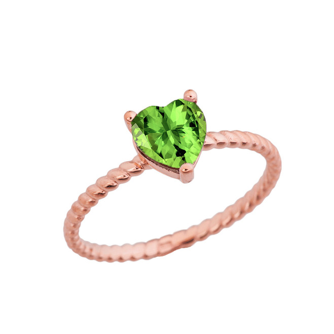 Dainty Genuine Peridot Heart Rope Ring in Rose Gold