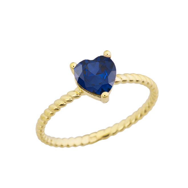 Dainty Sapphire (LCS) Heart Rope Ring in Yellow Gold