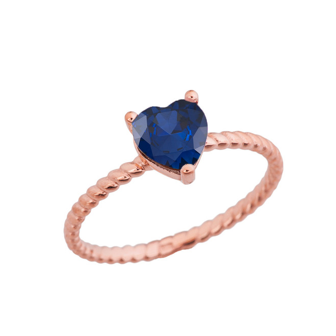 Dainty Sapphire (LCS) Heart Rope Ring in Rose Gold