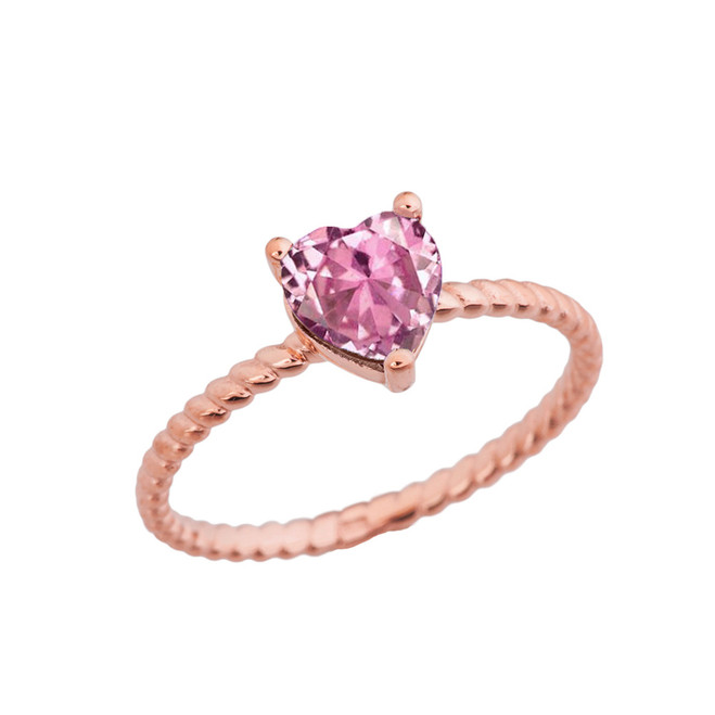 Dainty Pink Cubic Zirconia Heart Rope Ring in Rose Gold