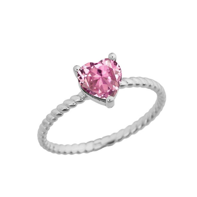 Dainty Pink Cubic Zirconia Heart Rope Ring in White Gold