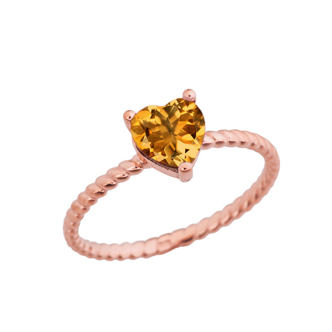 Dainty Genuine Citrine Heart Rope Ring in Rose Gold