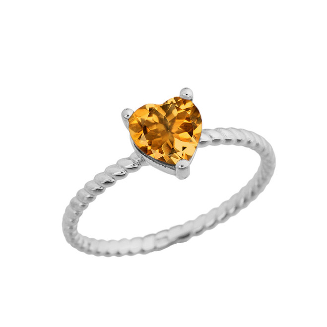 Dainty Genuine Citrine Heart Rope Ring in White Gold
