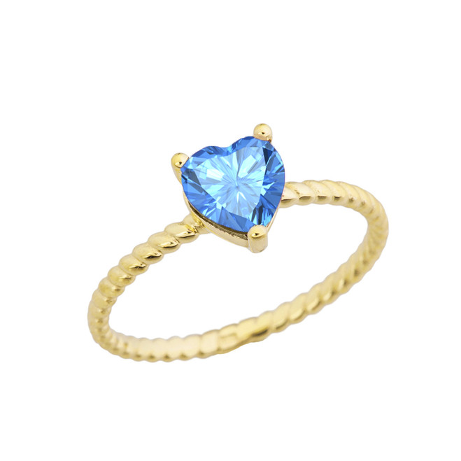 Dainty Genuine Blue Topaz Heart Rope Ring in Yellow Gold