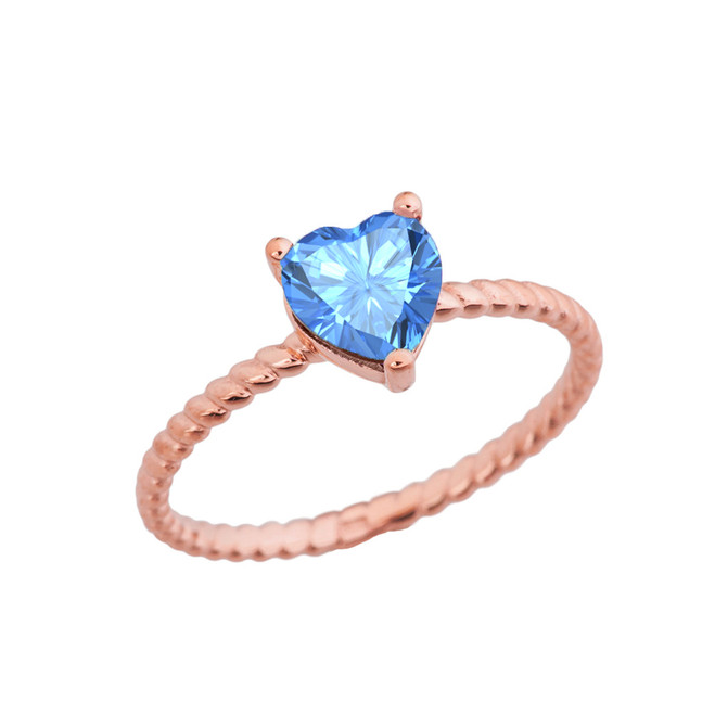 Dainty Genuine Blue Topaz Heart Rope Ring in Rose Gold