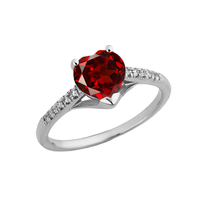 Genuine Garnet & Diamond Engagement and Proposal Ring in White Gold