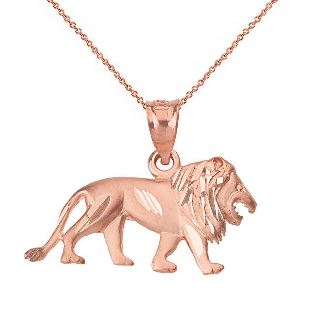 Solid Rose Gold Sparkle Cut Leo Zodiac Royal Lion Pendant Necklace