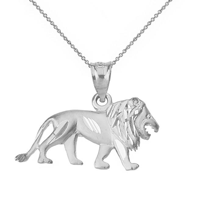 Solid White Gold Sparkle Cut Leo Zodiac Royal Lion Pendant Necklace