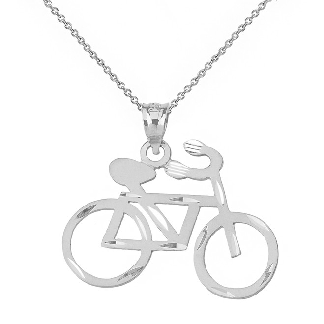 Solid White Gold Sparkle Cut Bicycle Pendant Necklace