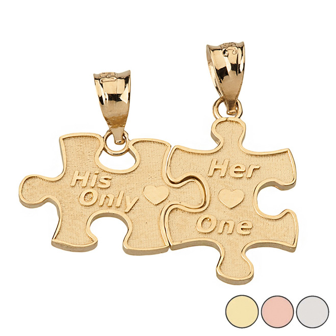 Her One His Only Break Apart Puzzle  2 - Piece Pendant Necklace in Solid Gold (Yellow/Rose/White)
