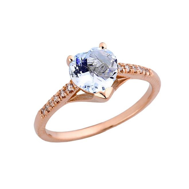 Genuine Aquamarine & Diamond Engagement and Proposal Ring in Rose Gold