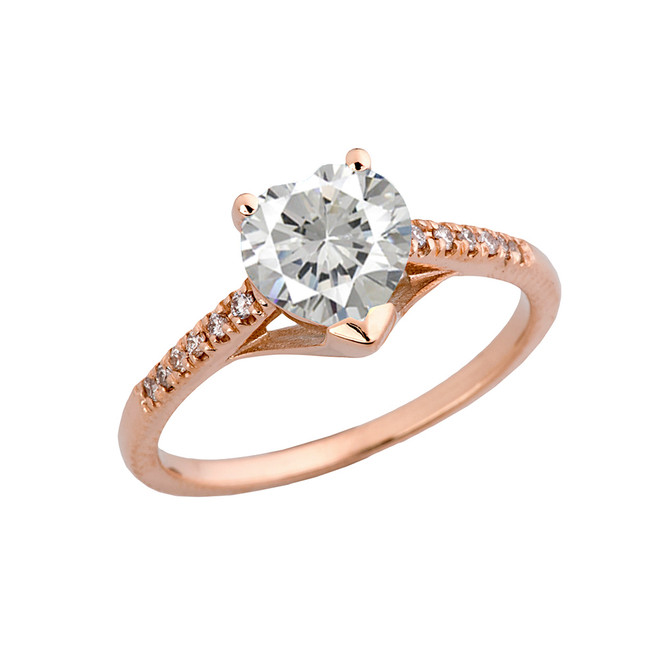 Cubic Zirconia & Diamond Engagement and Proposal Ring in Rose Gold