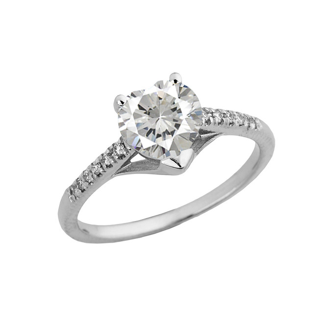 Cubic Zirconia & Diamond Engagement and Proposal Ring in White Gold
